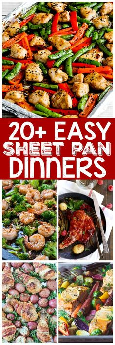 20 Easy Sheet Pan Dinners - From chicken and potatoes to fish and vegetables, this collection has something for everyone to help make dinner time a breeze! Easy Dinner Recipes, Easy Meals, Dinner Ideas, Cheap Meals, Lunch Ideas, Foil Dinners, Budget Dinners, Dump Dinners, Recipe Sheets