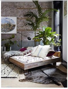 brick wall plants (no wall decor tho)    Bohemian room