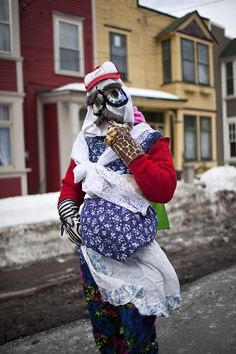 Although the tradition is now associated with fun and tomfoolery, this hasn't always been the case. Mummers often carried large sticks or other weapons, and between the and there were a number of reports of violence. Newfoundland Canada, Newfoundland And Labrador, Ocean Sounds, Beautiful Sites, Colourful Outfits, Winter Jackets, Traditional, St John's, Christmas Christmas