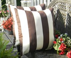 """Set of 2 ~ 17"""" Brown and Ivory Stripe Decorative Square Throw Toss Pillows ~ Indoor Outdoor Fabric"""