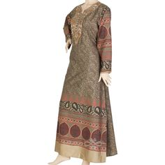 This #beautiful jilbab is designed of a luxurious printed cotton #fabric mixing between beige, crimson and #black tones. It is embroidered with touches of golden