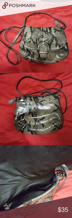 "COACH Snake Skin Design  Leather Crossbody Coach Snake skin design crossbody in good Condition,slightly used. With interior zip Pocket, exterior back pocket. H6.5"" X W 8"". Coach Bags Crossbody Bags"