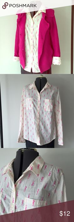 """Adorable Pink Seahorses Button Down Top Adorable Pink Seahorses Button Down Top. Cream shirt with bright pink seahorse print. Merona XL measures: 17"""" across shoulders, 22"""" across chest, 27"""" long, 25"""" sleeve. 100% cotton. 103/100/101216 Merona Tops Button Down Shirts"""