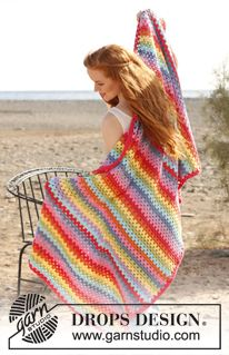 "Frazada DROPS, en ganchillo / crochet, con grupos de p.a. en ""Paris"". ~ DROPS Design"