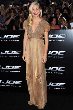 August 2009  Sienna Miller in a golden Yves Saint Laurent dress at the LA premiere of G.I. Joe: The Rise of the Cobra.