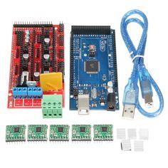 MEGA 2560 R3 Con el cable del USB + RAMPS 1.4 RepRa + A4988 Drivers Kit de la impresora 3D para Arduino