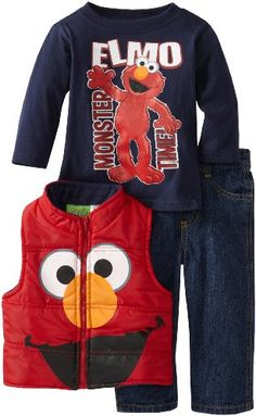 Sesame St Baby-boys Infant 3 Piece Elmo Monster Time Vest and Pant Set, Red, 18 Months Sesame St,http://www.amazon.com