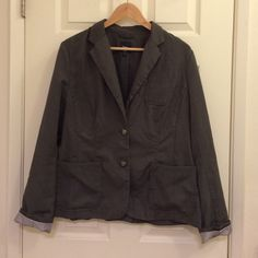 Gray GAP blazer Size 14 Gray Gap blazer, size 14. Fits true to size. Full length sleeves. Slit in back, very flattering. Gently used. *ships same day as purchase, every purchase comes with a free gift  GAP Jackets & Coats Blazers