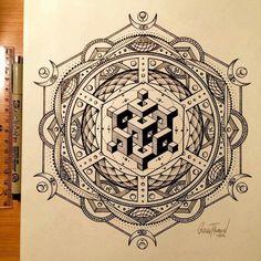 Black and White Innovative Mandala Geometric Mandala Tattoo, Geometric Drawing, Mandala Tattoo Design, Mandala Drawing, Mandala Art, Mandala Pattern, Flower Mandala, Sacred Geometry Symbols, Sacred Geometry Tattoo
