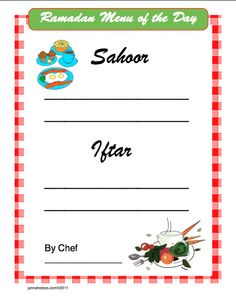 Suhoor and Iftar menu to get the kids involved in fasting and eating healthy