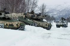 Norwegian Army Leopard 2A4NO MBTs and CV90 IFVs, assigned to the Armored Battalion of Brigade North, during exercise REIN 1. Photo: Ole-Sverre Haugli