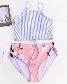 Lace Up Fresh Print High-Waisted Bikini Set - Bademode Bathing Suits For Teens, Summer Bathing Suits, Swimsuits For Teens, Cute Bathing Suits, Bandeau Bikini, Monokini Swimsuits, Bikini Set, Swimwear, Crop Top Bikini