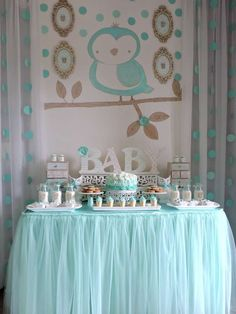 Lovely baby owl baby shower party! See more party planning ideas at CatchMyParty.com!