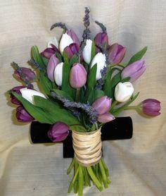 Tulip Wedding Bouquet Hydrangea Bouquet Wedding, Tulip Wedding, Lily Bouquet, Hand Bouquet, Floral Bouquets, Purple Wedding, Wedding Bouquets, Prom Flowers, Butterfly Flowers
