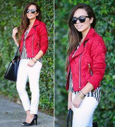 Chez Jeanton Red Moto Jacket, White Jeans, Ted Baker Bag - Red moto jacket... - Daniela Ramirez