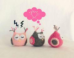 Baby girl amigurumi owl. Handmade crochet animal toy. Unique gift for children's birthday or baby shower.