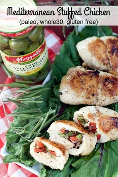 Paleo Mediterranean Stuffed Chicken is filled with Italian castelvetrano green olives, red bell pepper, red onion and oregano for a delicious and healthy dinner.