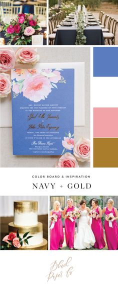 Navy and Gold Wedding inspiration from Blush Paper Co.