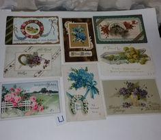 L 8 antique post cards with flowers early 1900s ephemera handwritten greeting lot postcards old paper scrap supplies vintage
