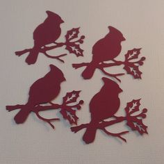 16 Paper Die Cut Red Cardinals Scrapbooking by thepapercove  #cardmaking