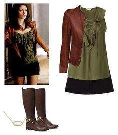 Hayley Marshall with brown leather jacket - The originals by shadyannon on Polyvore featuring polyvore fashion style Miss Selfridge Tom Ford MICHAEL Michael Kors Kendra Scott clothing