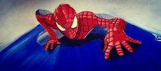 Spiderman, olio su cartoncino.