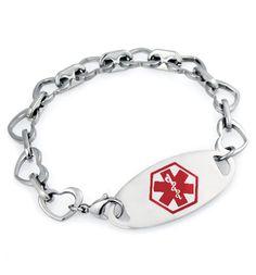 Khloe Red Oval Stainless Medical ID Bracelet