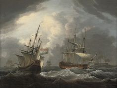 "Dominic Serres, R.A. (1719-1793),  "" An English frigate passing a Dutch merchantman in congested waters"""