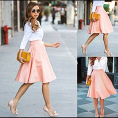 A-line slightly pleated light peach skirt Light peach, A-line slightly pleated midi skirt. As you can see in the last picture it is a zip up. From work to cocktails.....you will know how to wear it well. NWOT Couture Skirts Midi