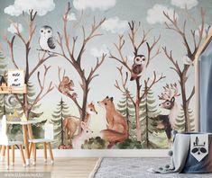 FOREST FAMILY Botanical Wallpaper / Forest Animals Wallpaper / | Etsy