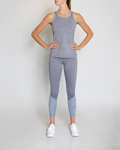 VIE ACTIVE Taryn Full Length Panel Legging, Ink Blue Heather/French Velvet. #vieactive #cloth #