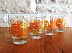 Orange Juice Glasses set of 4 by LittleDixieVintage on Etsy
