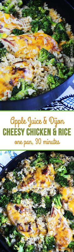 Slightly sweet and tangy Apple Juice and Dijon Cheesy Chicken, Broccoli & Rice Skillet - 30 minute, one pan family favorite! #chickenbroccolirice #cheesychicken #cheesyrice #30minutemeal