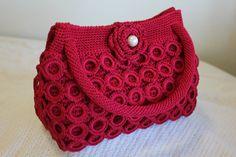 Crochet Handbag - Burgundy - Medium