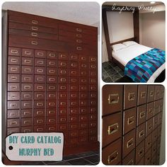 diy murphy bed | DIY card catalog murphy bed | Bedroom ideas