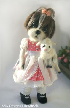Needle felted Shih Tzu doll, dressed as Mary had a Little Lamb by Kelly Powers Fitzpatrick (@MeowzalotDollz) | Twitter