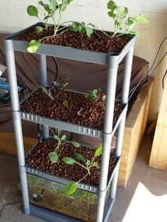 Shelfponics Aquaponics system from a $14 bookshelf and 10-gallon tank (Total about $110 full retail price). 6 square feet vertical pant growing space, 2 square foot footprint. Cool design from Garden Pool!