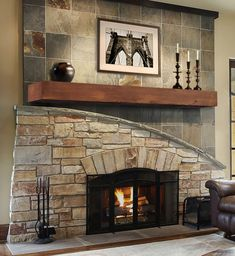 Donny Osmond Home Heritage Series Reclaimed Heart Pine Mantel Shelf - Fireplace Mantels at Hayneedle Corner Fireplace, Fireplace Mantel Shelf, Stacked Stone, Gorgeous Fireplaces, Log Cabin Decor, Fireplace Design, Fireplace Surrounds, Seaside Cottage, Fireplace