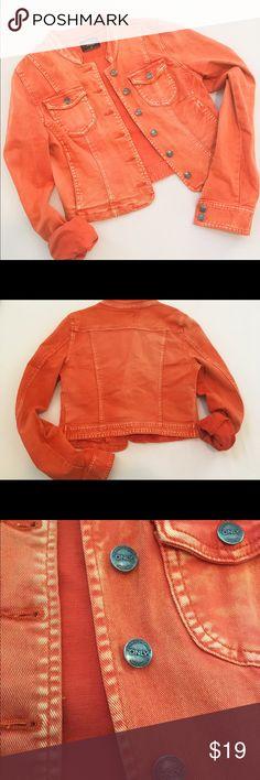 Orange jean jacket Great condition size 38 fits xs Only Jackets & Coats Jean Jackets