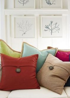 colorful pillow covers // pottery barn. I think I'll have to figure out how to make these myself :)