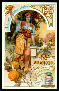 "Liebig - Colours of the Rainbow, Orange Liebig's Beef Extract ""Colours of the Rainbow"" Italian edition, Vintage Labels, Vintage Ephemera, Vintage Cards, Vintage Postcards, Vintage Illustration, Fantasy Illustration, Ink Illustrations, Justus Von Liebig, Vintage Flowers"