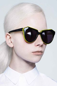 8c9749699680 Karen Walker Black and Crystal Fluro Yellow Uv Sunglasses