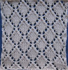 "Yarn: Cascade ""Natural"" Needles: US KnitPicks Options Gauge: 5 st/inch after blocking Pattern: Openwork Diamonds Stitch Count Repeat: Multiple of Book: A Treasury of Kn… Slip Stitch Knitting, Lace Knitting Stitches, Lace Knitting Patterns, Stitch Patterns, Gilet Crochet, Crochet Baby Booties, Crochet Slippers, Embroidery On Kurtis, Kurti Embroidery Design"