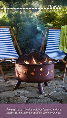 Make a statement at your al fresco party this summer with this stunning fire pit, just £115. Decorated with moons and stars, which are cut into the metal and given a vibrant glow by the flames within, it is all you need to give your night a wonderfully cosy, intimate feel. Deck chairs, blue-striped and priced at just £30 each, are the perfect way to round off the effect. | Tesco