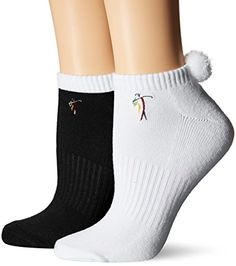 LPGA SOCKS and LEGWEAR Women's Embroidered Cushioned Pom Pom (2 Pair Pack) - http://golfforchampions.com/lpga-socks-legwear-womens-embroidered-cushioned-pom-pom-2-pair-pack/