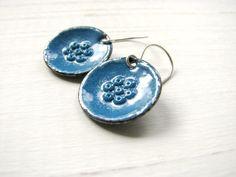 Blue Enamel Earrings Copper And Sterling