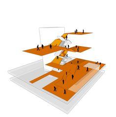 Gallery of Amstetten School Campus / Atelier Thomas Pucher - 4 Architecture Concept Drawings, Museum Architecture, Architecture Graphics, Islamic Architecture, Architecture Plan, Futuristic Architecture, Diagram Design, Architectural Section, Grafik Design