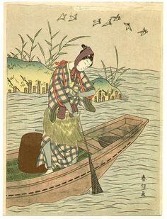 Pêcheur Et Oiseaux de Suzuki Harunobu (1725-1770, Japan)