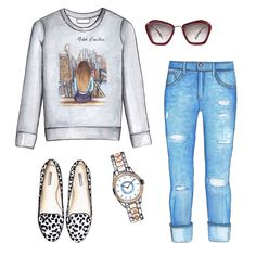 Printed sweatshirt, boy-friend jeans, flats