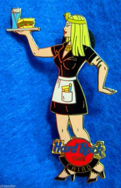 Hard Rock Cafe badge pin, Cairo, Egypt, servant girl in an stylized Egyptian pose.